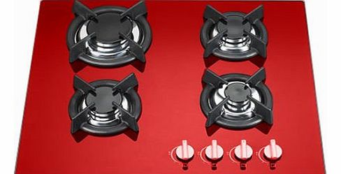 Necht 4 burner 60cm Red glass built in gas hob with heavy duty burners