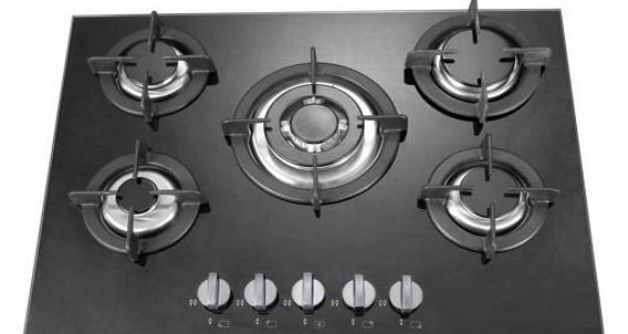 5 burner 70cm black glass built in gas hob with heavy duty burners