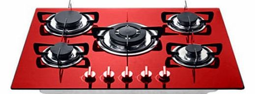 5 burner 70cm Red glass built in gas hob with heavy duty burners