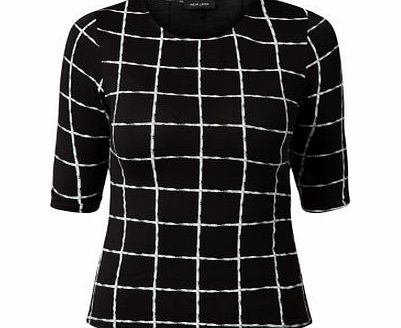 Black Grid Check Fitted T-Shirt 3326360