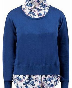 Navy Floral Print 2 In 1 Jumper Blouse 3177297