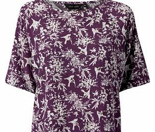 Purple Bird Print T-Shirt 3207496