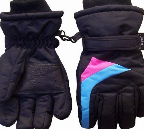 Girls Colorblocked Ski Glove - 4-7Yrs, Black/Turq/Fuchsia