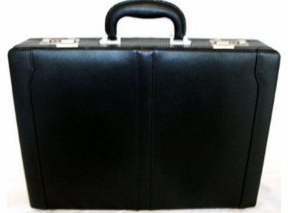 Real Leather Mens Executive Attache Case / Briefcase - Black - GH6922b