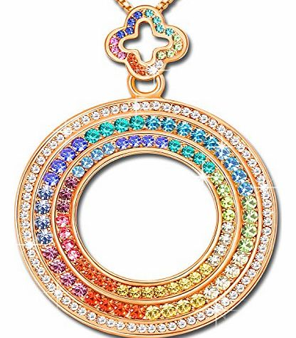 Christmas Gifts Ninabox® ``Dubai Eye`` Genuine SWAROVSKI Elements Crystal Pendant Necklace Rose Gold Plated Multicolor Sweet Fashion Jewellery for Women Engagement Bridal Wedding Birthday Anniversary Th