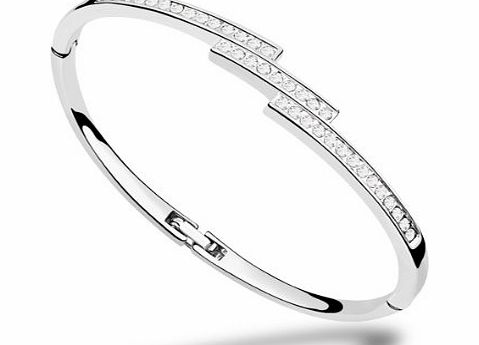 Valentines Gifts Ninabox Snow Queen Collection Ice. White Gold Plated Bangle Bracelet with Round Clear Swarovski Elements Crystal. Bracelet Diameter : 5.7 cm * 4.5 cm. BAG04311WW