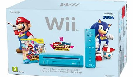 Wii Console (Blue) with Mario and Sonic at the London 2012 Olympic Games (New Slim-Style)