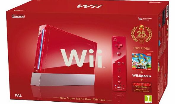 Wii Console (Red) with Wii Sports plus New Super Mario Bros and Motion Plus Controller (Wii)