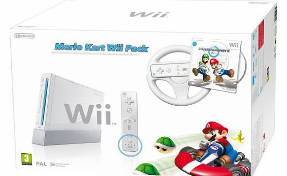 Wii Console (White) with Mario Kart: Includes White Wii Wheel and Wii Remote Plus