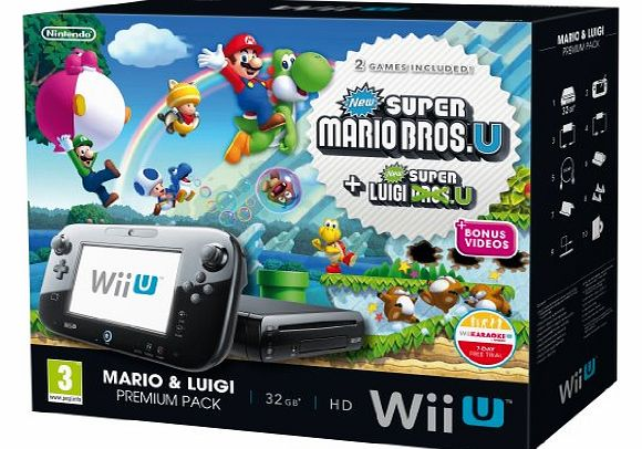 Wii U 32GB New Super Mario Bros and New Super Luigi Bros Premium Pack - Black (Nintendo Wii U)