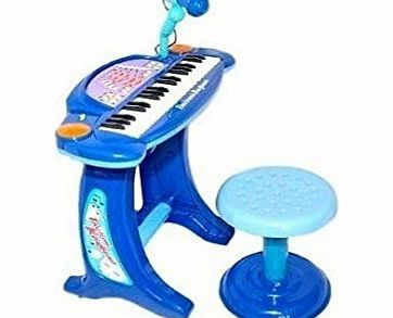 NMIT Kids Childrens Electronic 36-Key Keyboard Piano Record Microphone with Stool BLUE