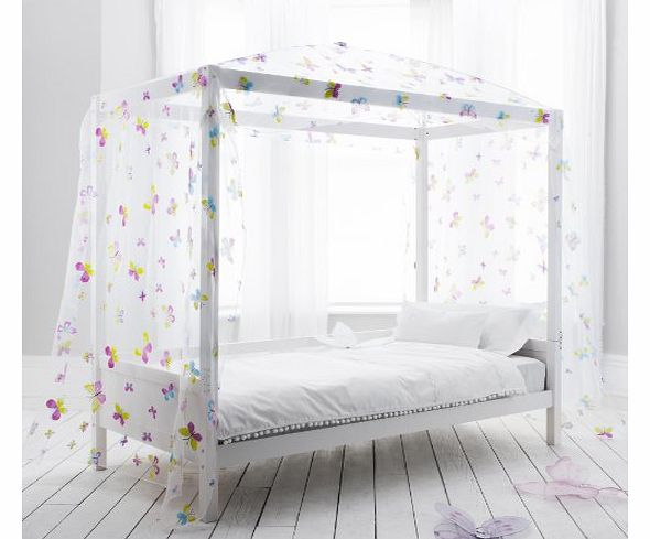 Single Bed Four Poster Canopy, Day Bed with Butterfly Design