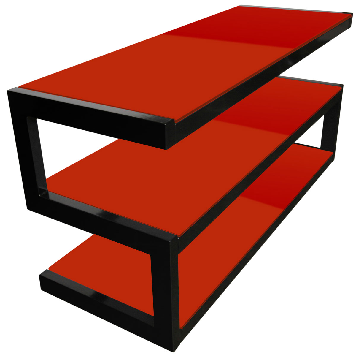 Esse Gloss Black and Red Glass TV Stand