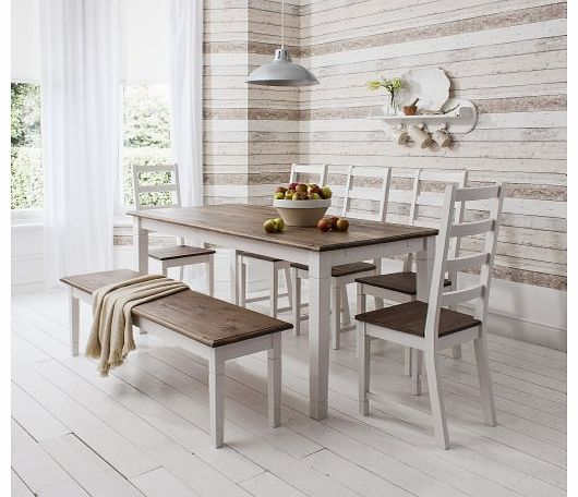 Table and 5 Chairs and Bench Canterbury Dining Table in Contemporary Dark Pine and White