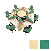 6-Person Call Centre With 6 Green Screens