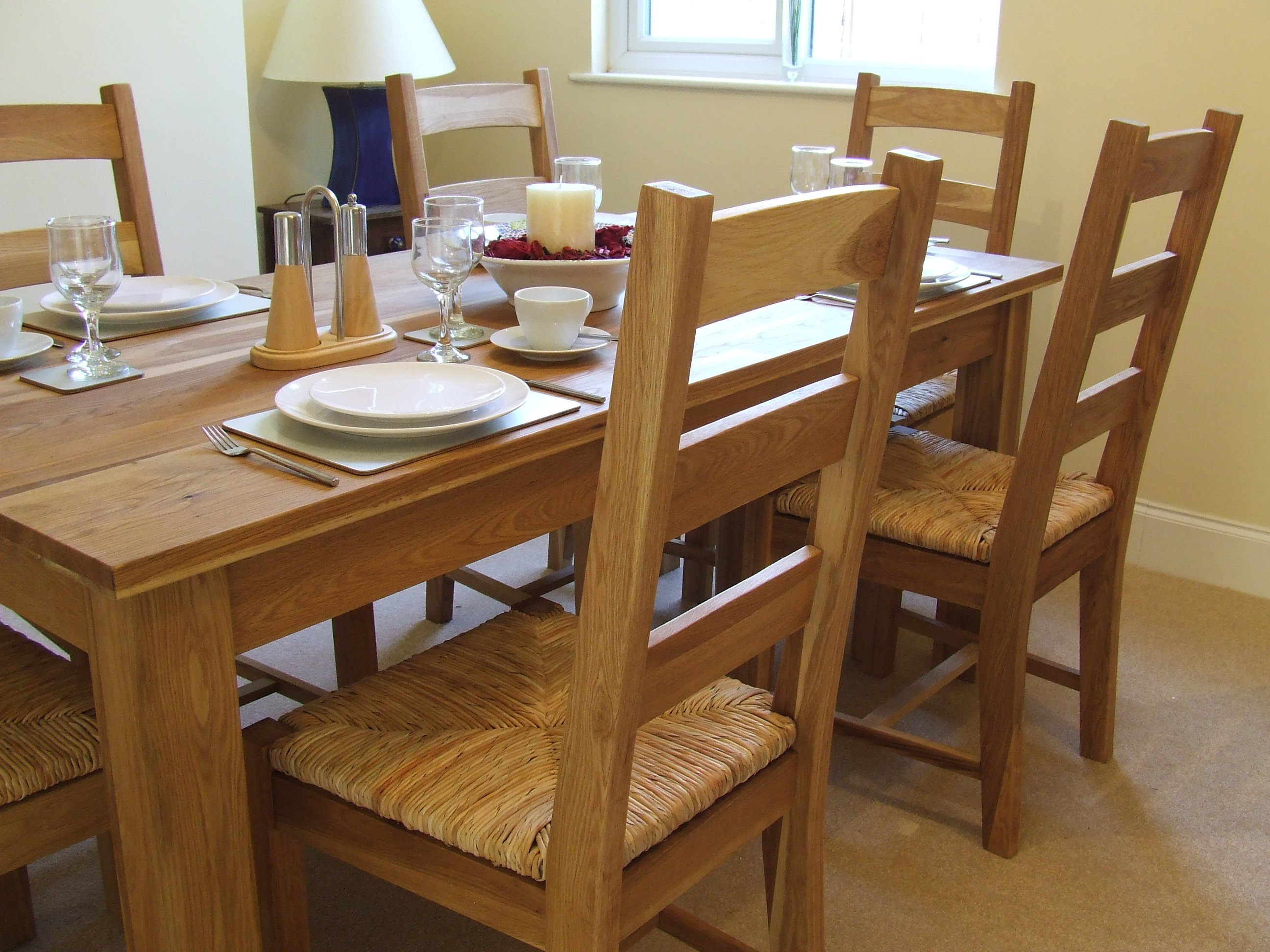 Oak Solid Oak Dining Table Set 180cm Rush Pad Dining  : oak solid oak dining table set 180cm rush pad from comparestoreprices.co.uk size 2592 x 1944 jpeg 698kB