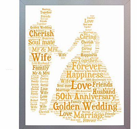 Framed 50th Golden Wedding Anniversary Word Art A4 Print. Photo Picture Keepsake Gift for Mum, Dad, Gran, Grandad, Friend & Family Present