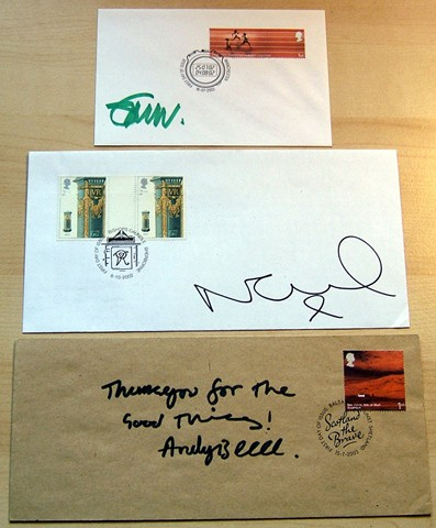 - SET OF 3 x FDCS SIGNED BY NOEL ANDY