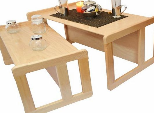 3 in 1 Adults Multifunctional Nest of Two Coffee Tables, or Childrens Multifunctional Furniture Set One Multifunctional Table and One Multifunctional Chair Solid Beech Wood Natural Varnish