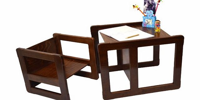 3 in 1 Childrens Multifunctional Furniture Set of One Multifunctional Table and One Multifunctional Chair or Adults Multifunctional Nest of Two Coffee Tables made of Solid Beech Wood Natural Varnish