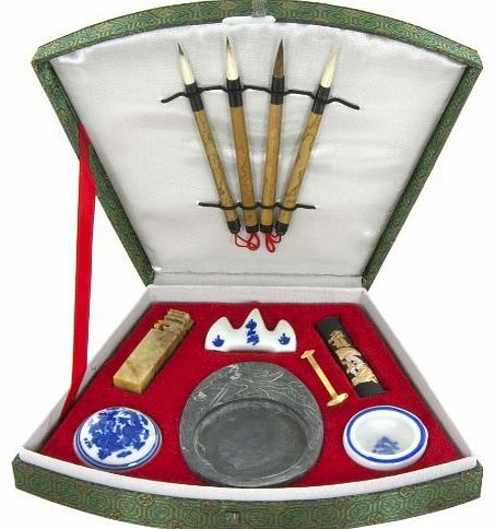Oriental Furniture Best Arts Crafts Creative Educational Gift Ideas 2011, Complete Chinese Japanese Calligraphy Set in Fan Box Office Supplies Store Online, ofice