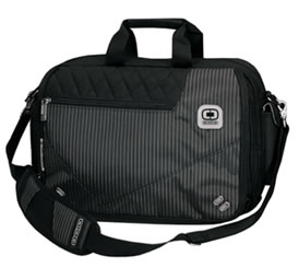 Golf Street City Corp Messenger/Laptop Bag Black Pinstripe