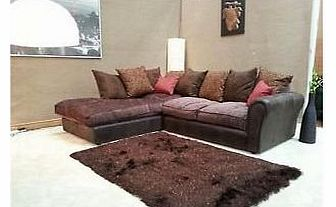 Barcelona Brown Chenille Fabric Corner Group Sofa With Rhino Leather Look (L/H)