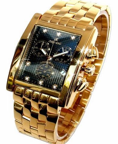 Rodez Limited Edition 23ct Gold Plated 7 Diamond Gents Chronograph Watch with Black Dial