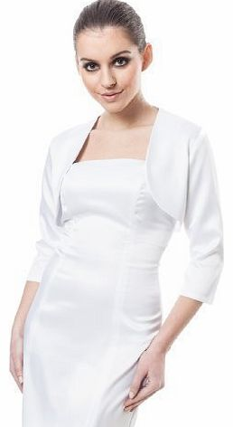 Ossa Wedding Bridal Evening Prom Satin Bolero Shrug Jacket Stole 3/4 Length Sleeve White 22