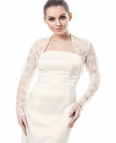 Ossa Womens Evening Party Bridal Lace Bolero Cocktail Jacket Long Sleeve Shrug Ivory 16