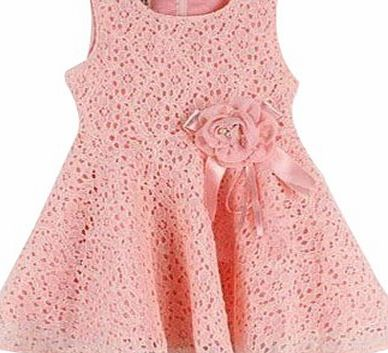 Other New Kids Girls Princess Party Flower Solid Lace Formal Dress (100 for(2-3 Years), pink)