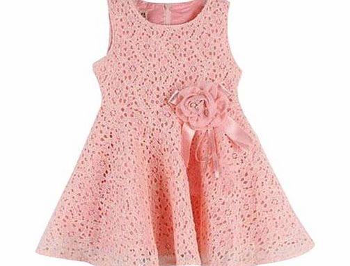 Other New Kids Girls Princess Party Flower Solid Lace Formal Dress (90 for(1-2 Years), pink)