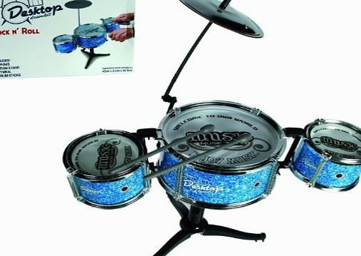 Out of the Blue Novelty Desktop Drumkit - Comes with 2 Drumstick-Ideal Kids / Childrens Christmas / Birthday Gift or Stocking Filler