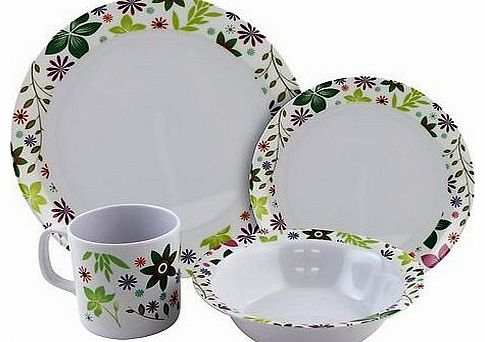 16 Piece Melamine Dinner Set - Meadow - 4 PERSON - Camping & Motorhome Accessories