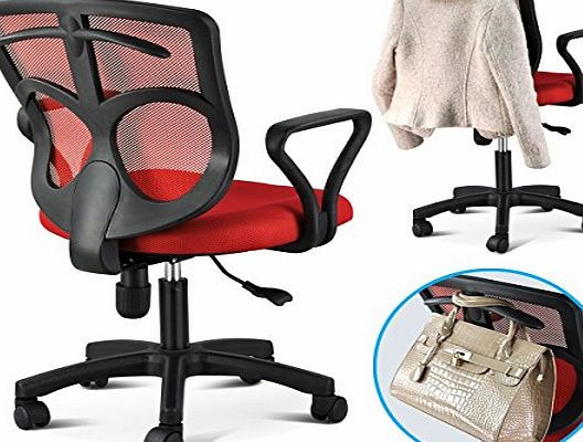 outdoortips  Multicolor Adjustable Swivel Office Desk Chair With Arms Fabric Mesh Seat Backrest (Q-Black)