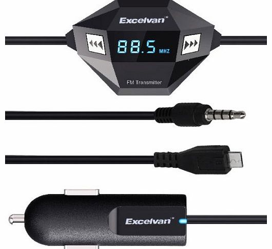 Oxford Street Excelvan F27 FM Transmitter 3.5mm Audio Micro USB with Car Charger Adapter for Samsung Galaxy S III/