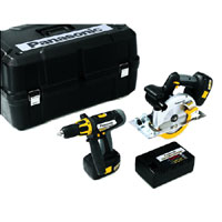 EYC151GQW 18v Cordless Metal Saw and Combi Hammer Drill Kit   2 Batteries 3.5Ah