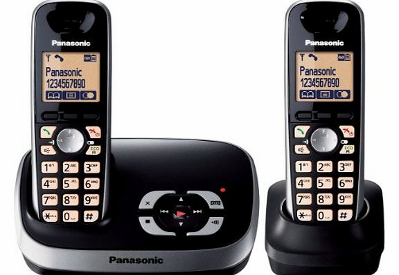 KX-TG6522EB DECT Twin Digital Cordless Phone Set with Answer Machine - Black