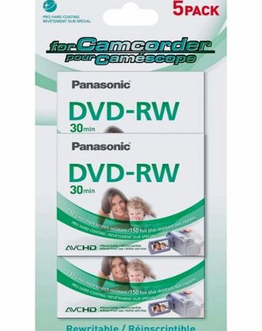 Panasonic Unrivalled Panasonic Camcorder 30min DVD-RW - 5 Pack with accompanying Lost amp; Found Tags