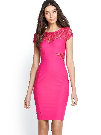 Cap Sleeved Lace Trim Bodycon Dress