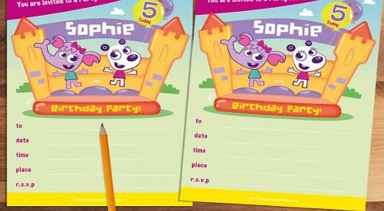 20 Childrens Personalised Birthday Party Invitations Zoo Crew Bouncy Castle Blue