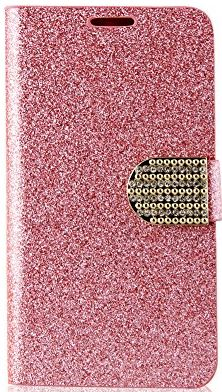 New Stylish Multicolor Deluxe Shining Crystal Bling PU Leather Wallet Flip Pouch Case Cover for Samsung Galaxy S5 i9600 -Pink