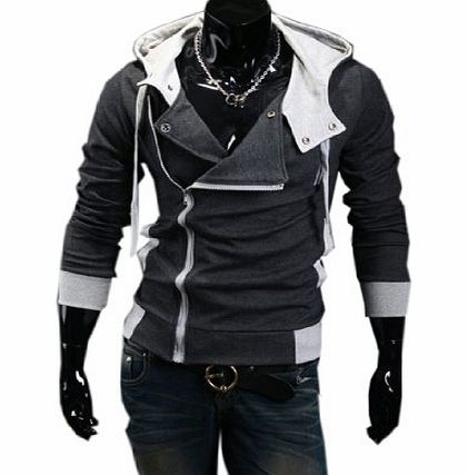 Partiss Assassins Creed 3 Desmond Miles Hoodie Costume Top Coat Jacket Cosplay Hoody (XL, Dark Gray)