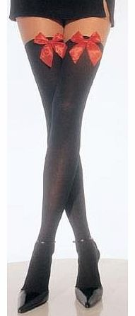 Party On Fancy Dress Ladies Black Hold Up Stockings With Red Bows