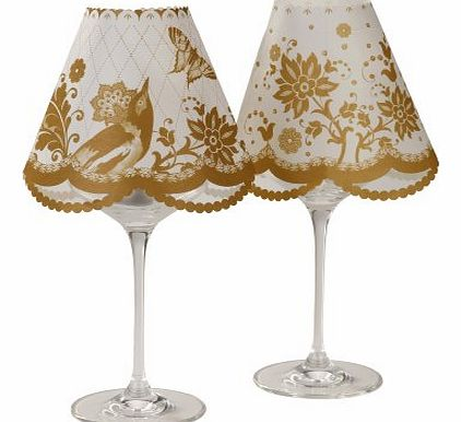 Wineglass Lampshades In 2 Designs Pack of 6, Gold