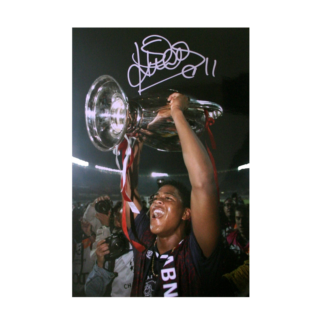 Kluivert Signed Photo - Lifting The European Cup