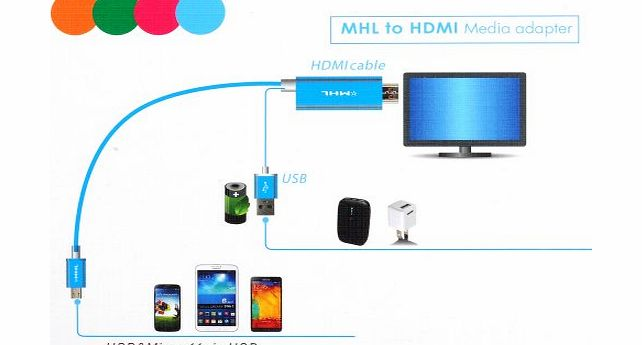 1080P Aluminum Micro 11pin USB MHL 2.0 to HDMI TV AV HDTV Media Cable Adapter for Samsung Galaxy S5 S3 S4 NOTE 2 3 II III-Blue