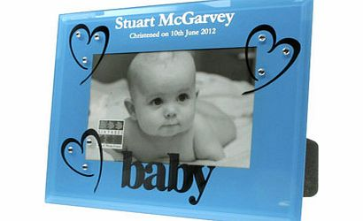 Personalised Blue Glass Christening Photo Frame
