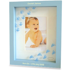 Blue Hand and Foot Print Photo Frame