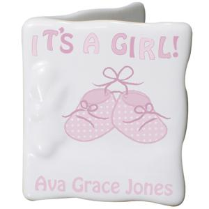 Bootee Its a Girl Message Card